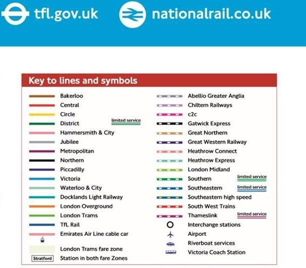 National Rail Key Symbols London