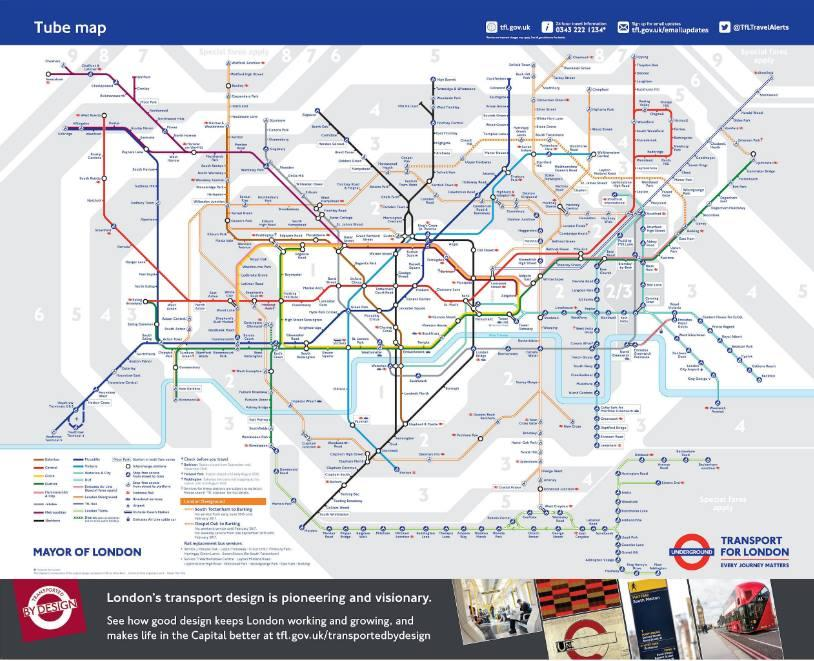 London New tube & tram map