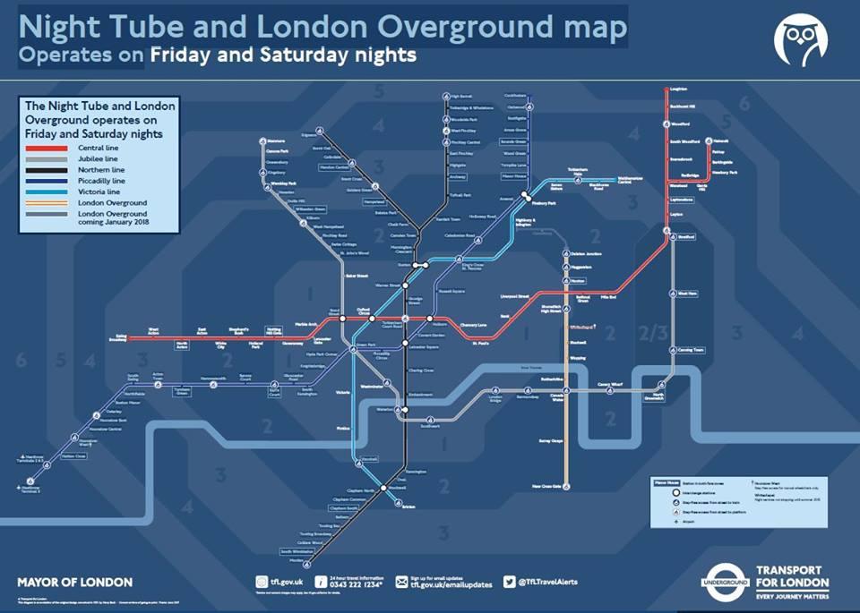 Night tube overground london map