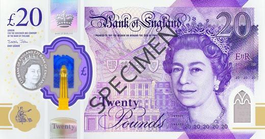 Nouveau billet de £20 en polymère