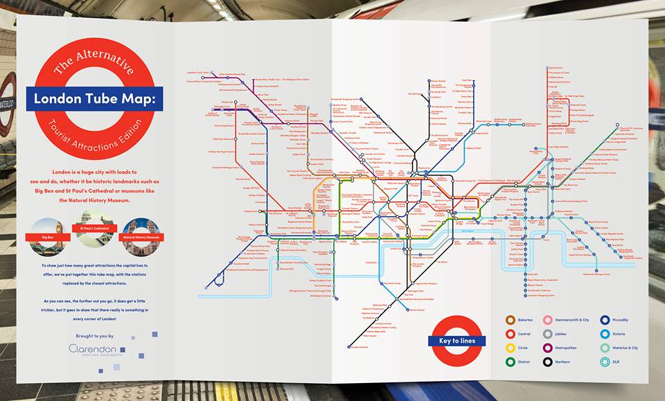 Touristes attractions tube map©clarentonlondon