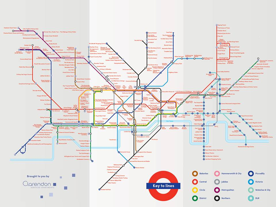 Touristes attractions London tube map