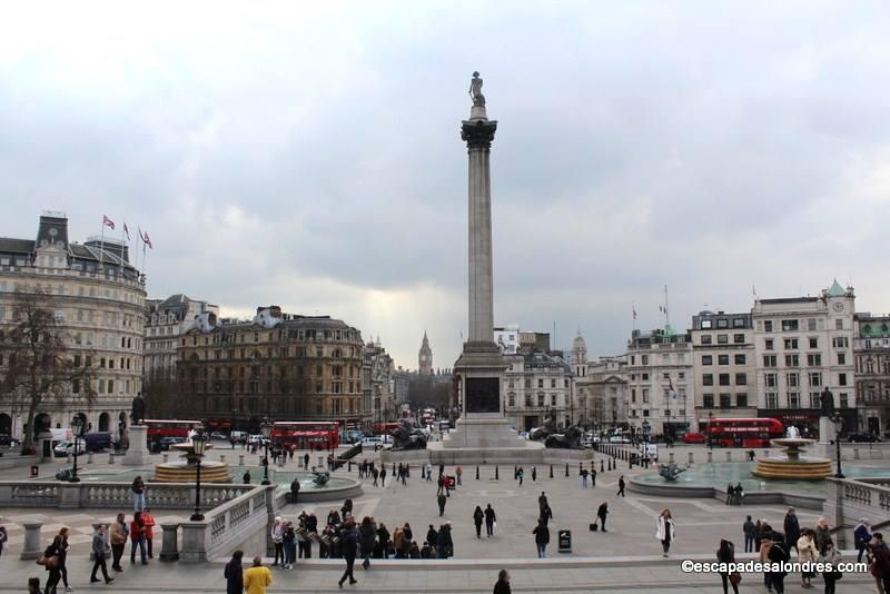 Trafalgar Square et la colonne de Nelson