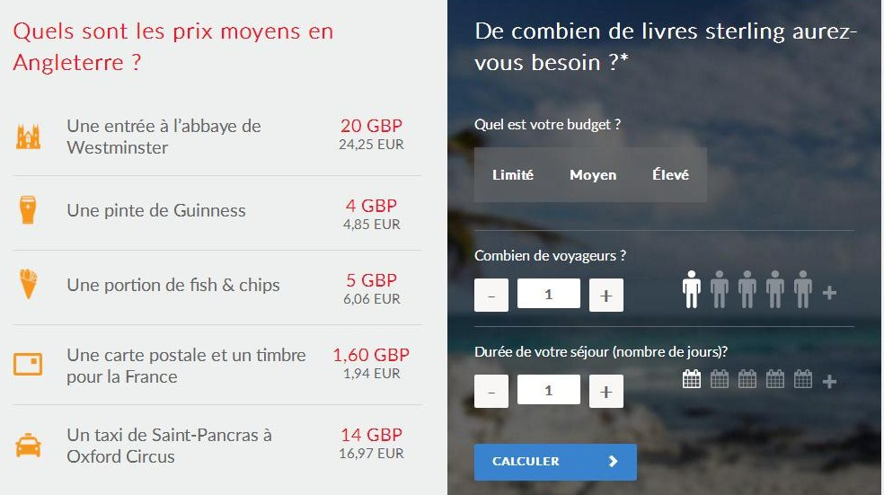 Travelex livre sterling