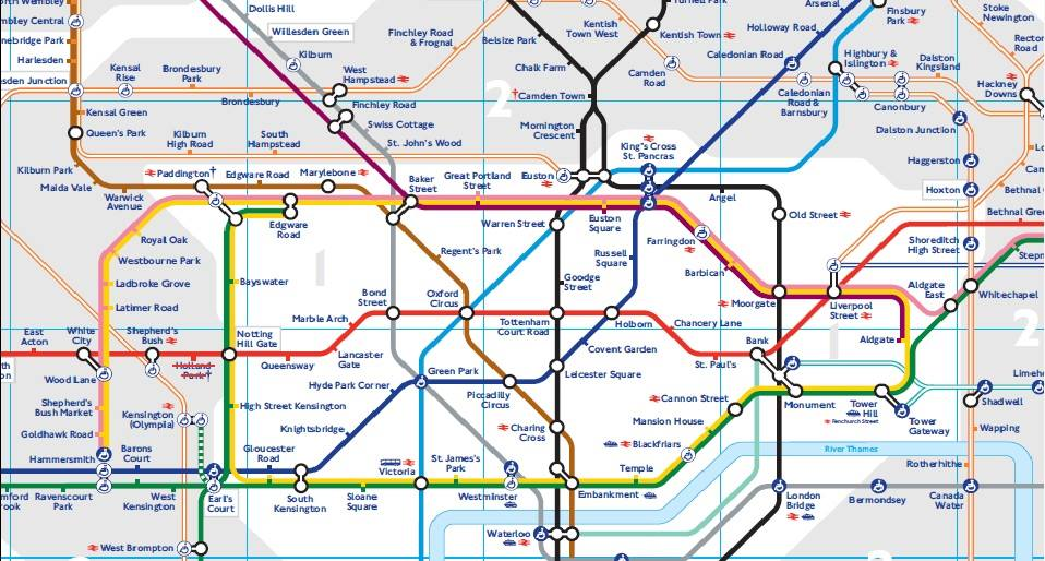 Tube Map Londres avec zones