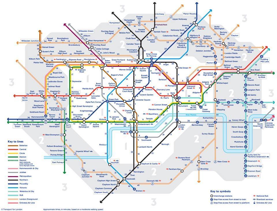 La carte officielle du métro de Londres avec le temps de marche