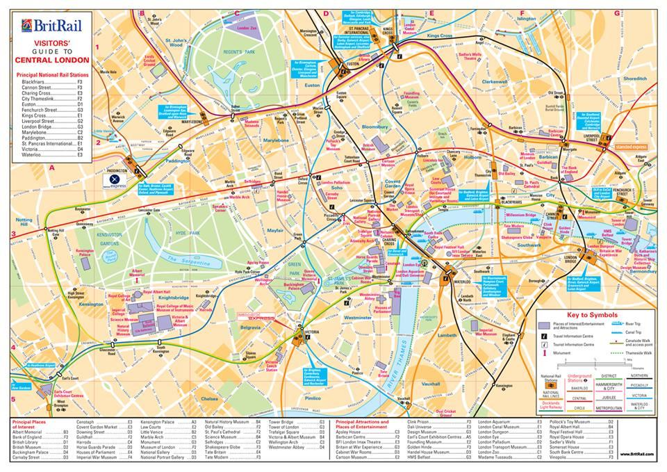 Central London Britrail Map