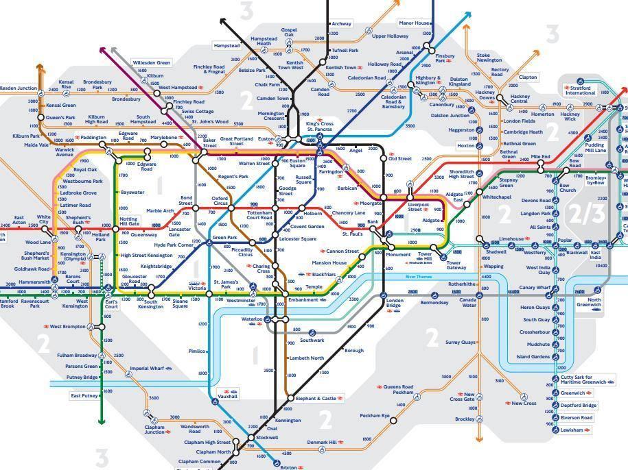 Step walking london tube map