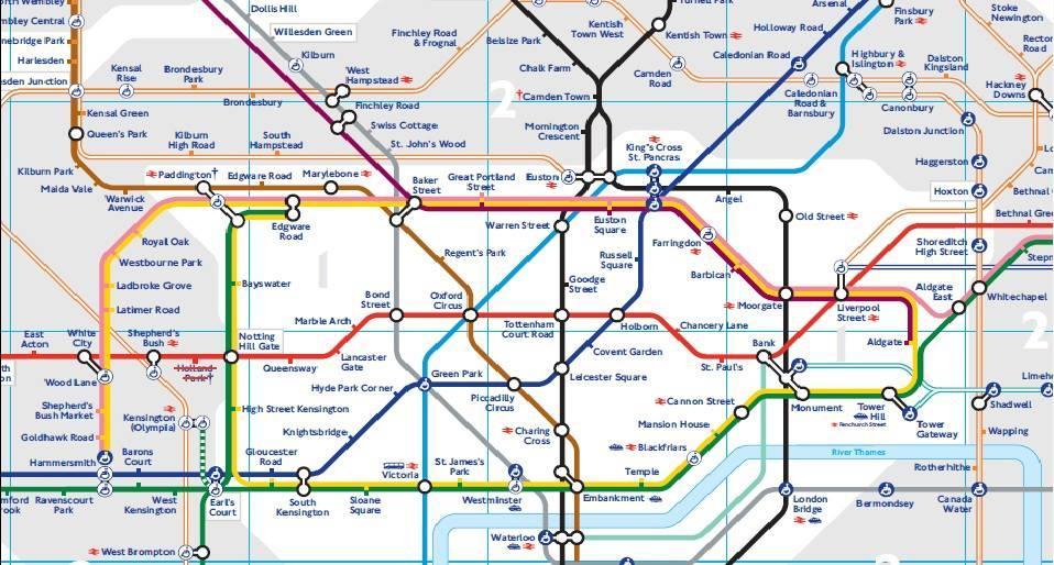 Tube Map Londres avec zones