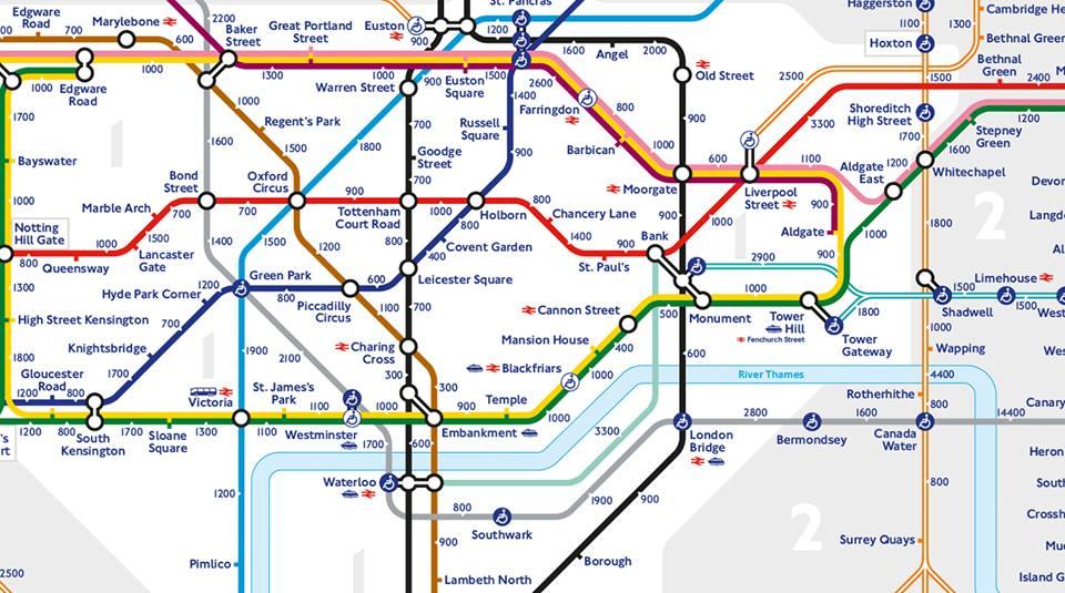 Tube map walking step