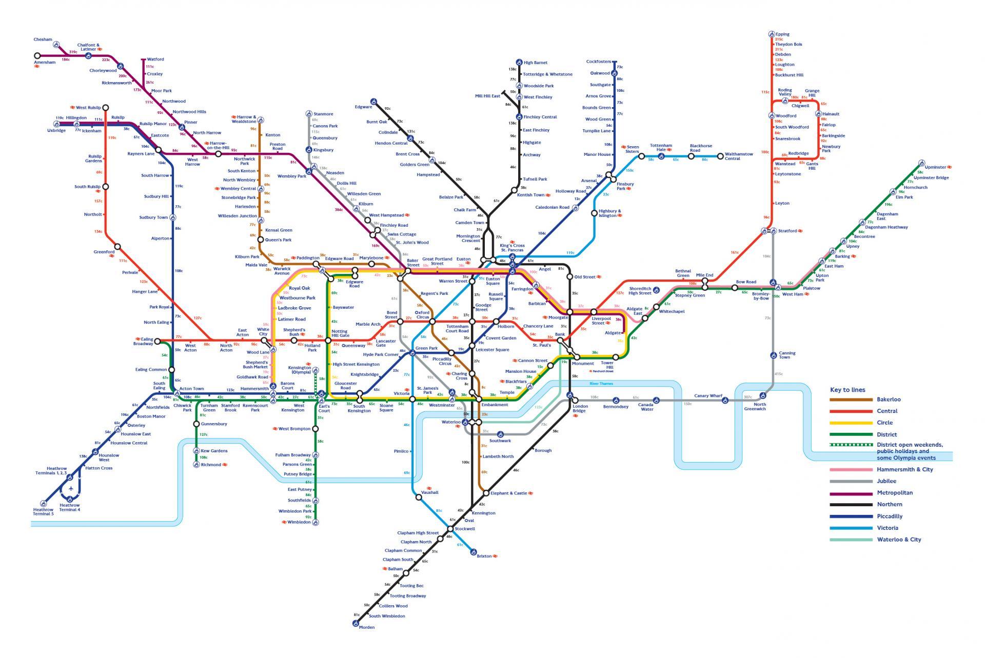 Nombre de calories brûlées entre les stations de métro de Londres