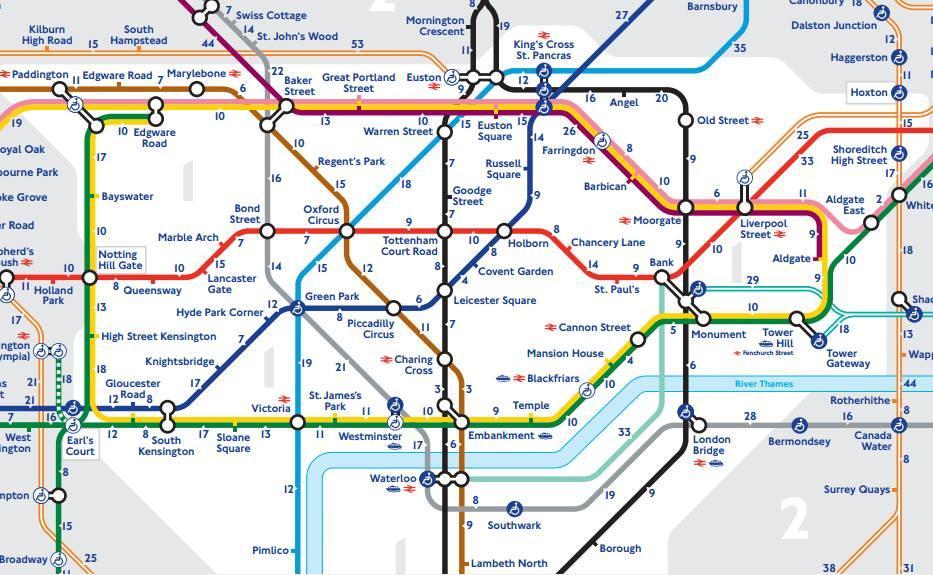 carte de metro londres La carte officielle du métro de Londres avec le temps de marche
