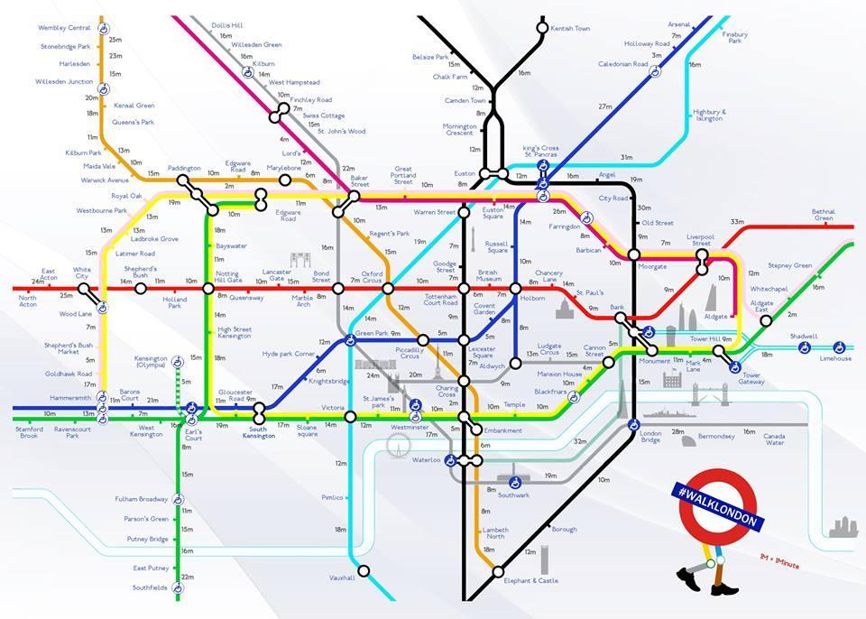 Temps de marche entre les stations de métro